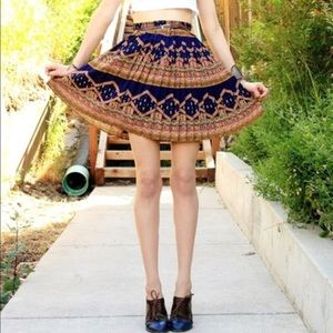 Anthropologie Pleated Tribal Mini Skirt